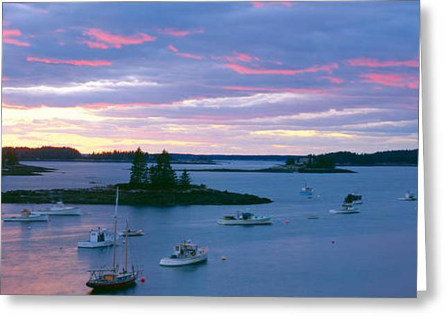 Sunset At Port Clyde Lobster Village Greeting Card by Panoramic Images