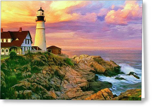 Maine Lighthouses Greeting Cards - Sunset at Portland Head Greeting Card by Dominic Piperata