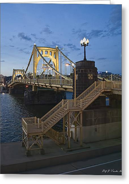 Roberto Greeting Cards - Sunset at Roberte Clemente Bridge Greeting Card by Dirk VandenBerg