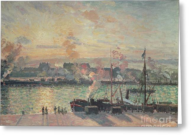 Boats At Dock Greeting Cards - Sunset at Rouen Greeting Card by Camille Pissarro