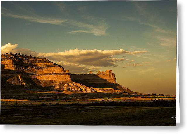 Sunset At Scotts Bluff National Monument Greeting Card by Edward Peterson