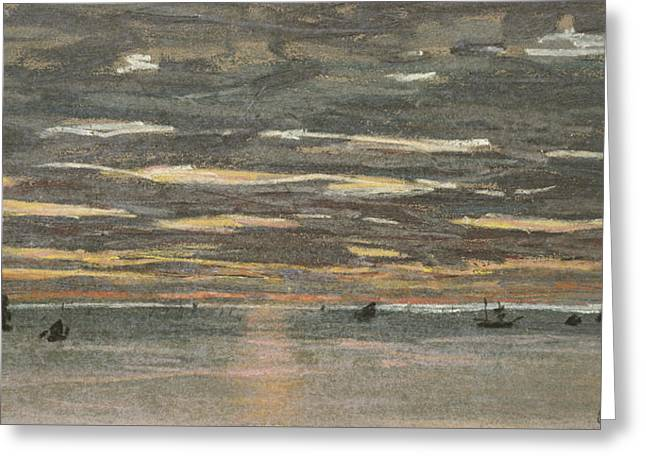 Grey Fine Art Greeting Cards - Sunset at Sea Greeting Card by Claude Monet