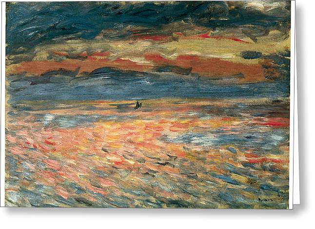 Sea Going Greeting Cards - Sunset at Sea Greeting Card by Pierre-Auguste Renoir
