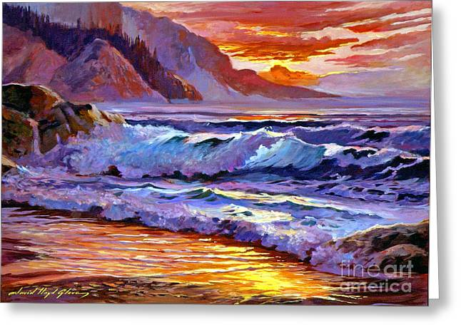Clouds. Emotional Greeting Cards - Sunset At Shipwreck Beach Greeting Card by David Lloyd Glover