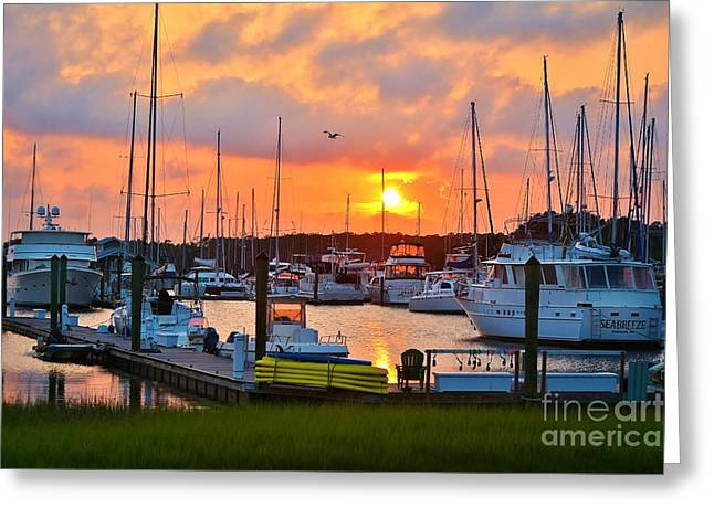 Masts Greeting Cards - Sunset at Southport Marina 2 Greeting Card by Kelly Nowak