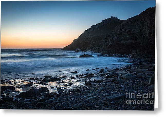 Sunset At St. Agness, Cornwall, Uk Greeting Card by Amanda Elwell