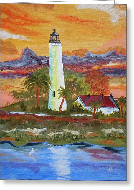 Acylic Painting Greeting Cards - Sunset at ST. Marks Lighthouse Greeting Card by Warren Thompson
