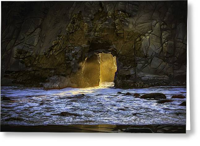Big Sur Beach Greeting Cards - Sunset at the Arch Greeting Card by Patricia Dennis