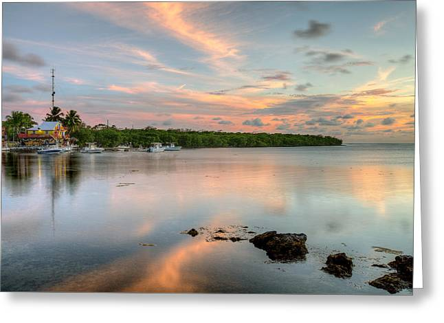 Ocean Shore Greeting Cards - Sunset at the beach Greeting Card by Al Hurley