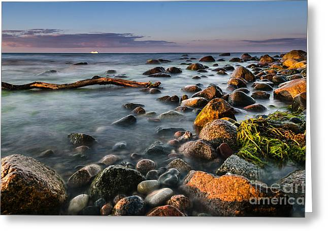 Boat Cruise Greeting Cards - Sunset at the beach Greeting Card by Dirk Petersen