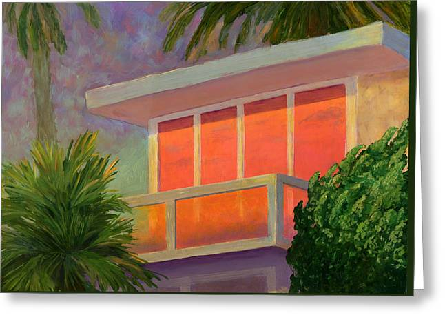 Warm Summer Paintings Greeting Cards - Sunset at the Beach House Greeting Card by Karyn Robinson