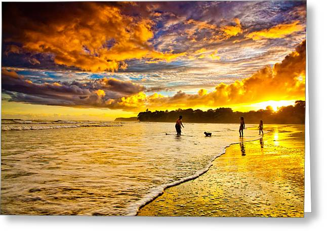 Kids Playing Greeting Cards - Sunset at the Coast Greeting Card by Iris Greenwell