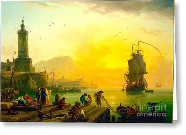 Tall Ships Greeting Cards - Sunset At The Harbor Greeting Card by Olivia  Bonham