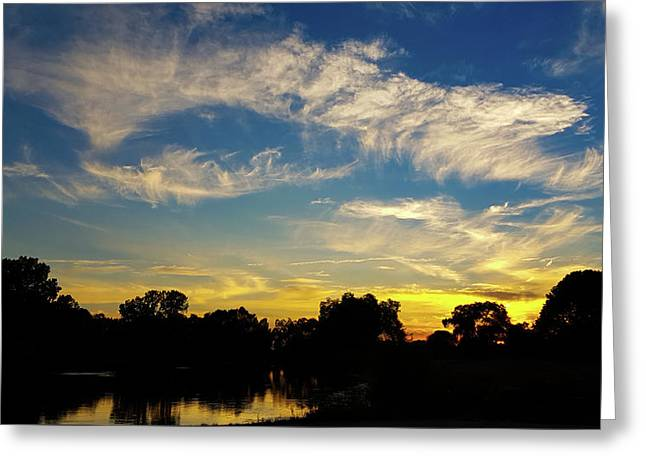 Sunset At The Lake  Greeting Card by Art Spectrum