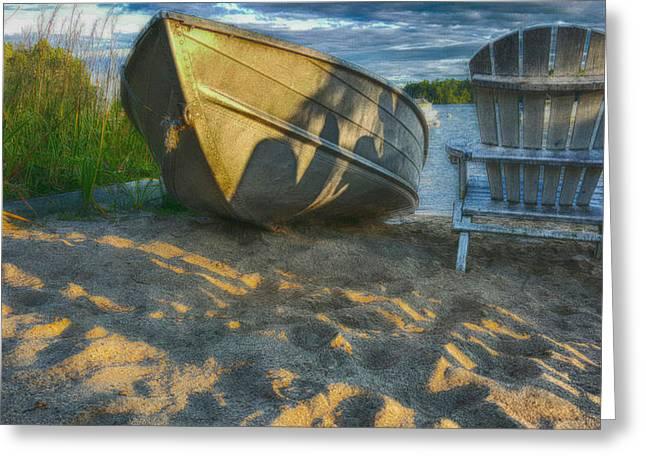 Adirondak Chair Greeting Cards - Sunset at the lake Greeting Card by Jeff Folger
