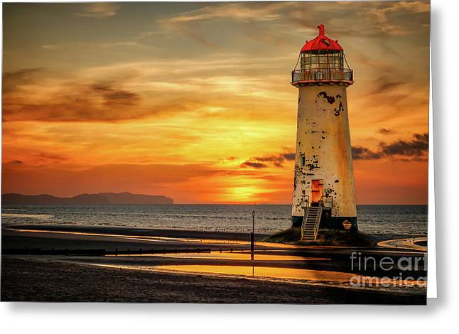 Sunset At The Lighthouse Greeting Card by Adrian Evans