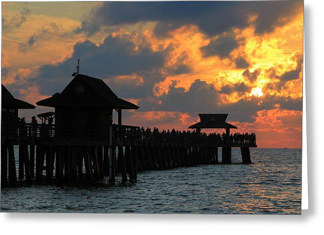 Paradise Pier Attraction Greeting Cards - Sunset at the Naples Pier Greeting Card by Sean Allen