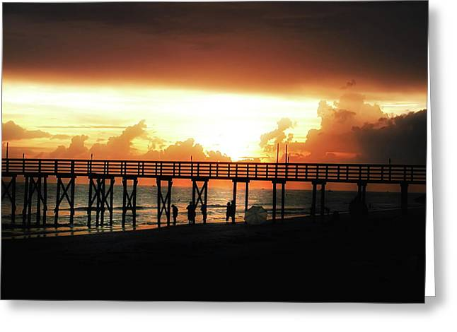 St Petersburg Florida Greeting Cards - Sunset at the Pier Greeting Card by Bill Cannon