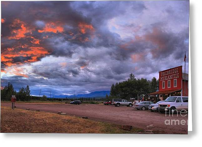 Saloons Greeting Cards - Sunset At The Polebridge Mercantile Greeting Card by Adam Jewell