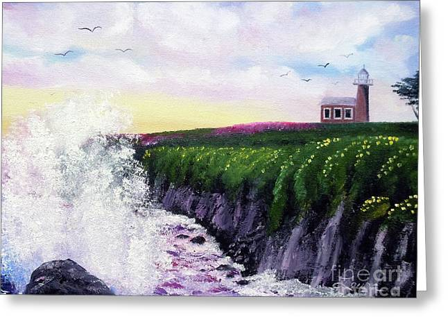 California Lighthouse Greeting Cards - Sunset at the Santa Cruz Lighthouse Greeting Card by Laura Iverson