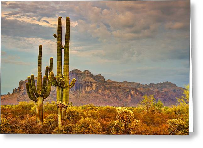Sunset At The Superstitions  Greeting Card by Saija  Lehtonen