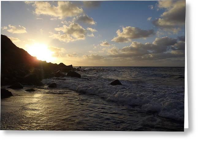 Saba Rock Greeting Cards - Sunset at Wells Bay Greeting Card by Senske Art