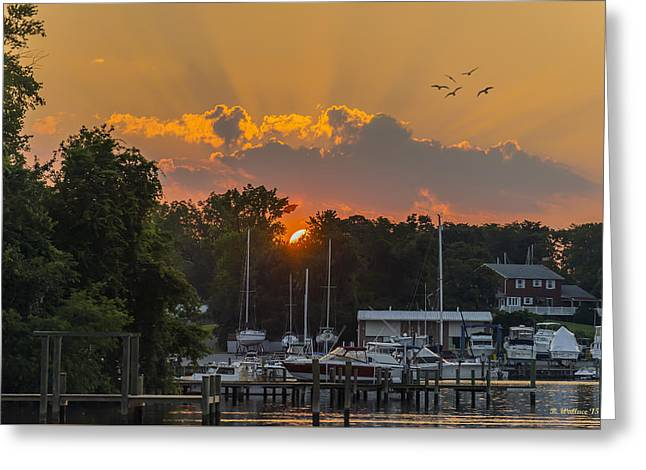 Enhanced Greeting Cards - Sunset At Whites Cove Greeting Card by Brian Wallace
