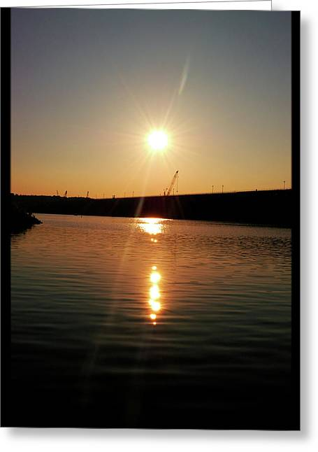 Sunset At Wolf Creek Dam Greeting Card by Amber Flowers