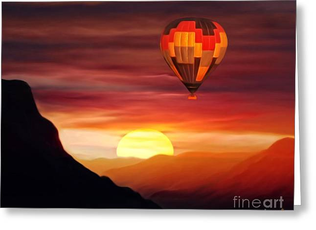 Helium Greeting Cards - Sunset Balloon Ride Greeting Card by Zedi