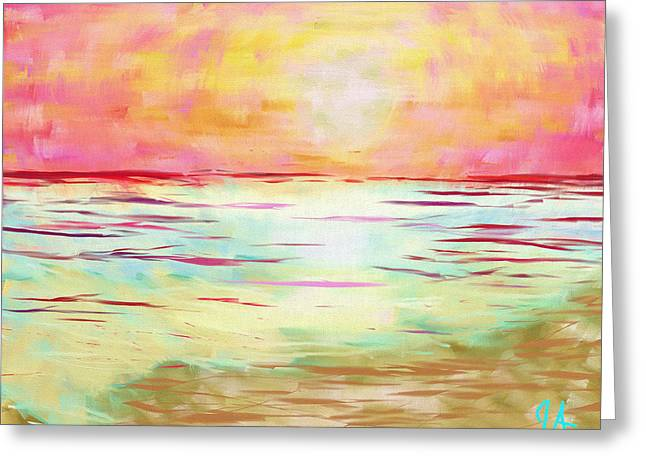Sunset Beach Greeting Card by Jeremy Aiyadurai