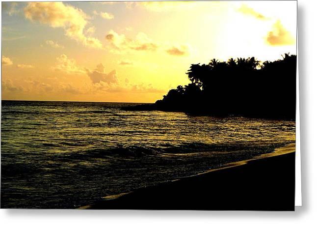 Sunset Beach Greeting Card by Tai Clay