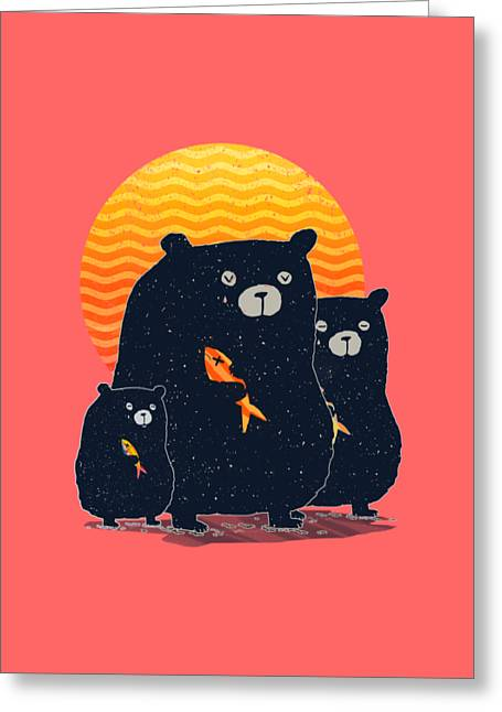 Bear Digital Greeting Cards - Sunset Bear Family Greeting Card by Illustratorial Pulse