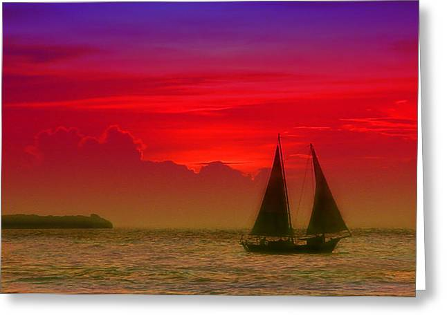 Sailboat Photos Greeting Cards - Sunset behind the clouds Greeting Card by Susanne Van Hulst