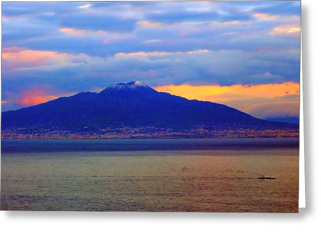 Italian Sunset Greeting Cards - Sunset behind Vesuvius Greeting Card by Scott Carda