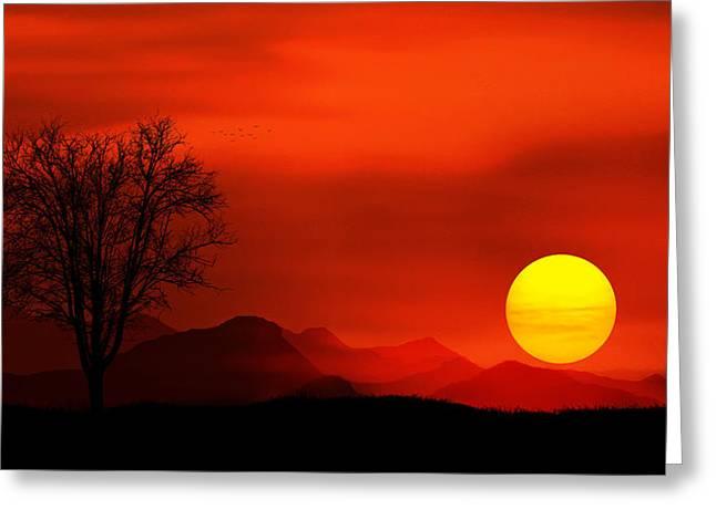 Sunset Greeting Card by Bess Hamiti