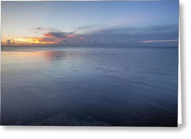 Ocean Shore Greeting Cards - Sunset Bleu Greeting Card by Al Hurley