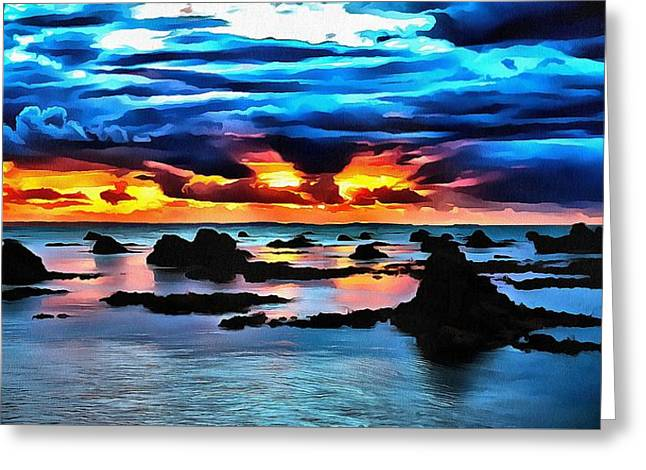 Debbie Chamberlin Greeting Cards - Sunset Blue Greeting Card by Debbie Chamberlin