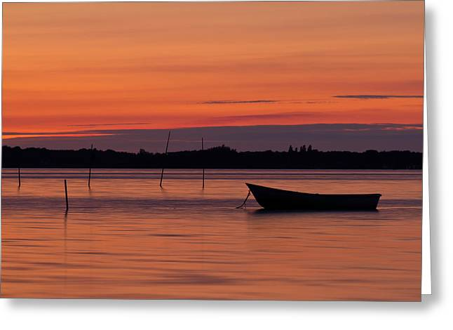 Vague Greeting Cards - Sunset Boat Greeting Card by Gert Lavsen