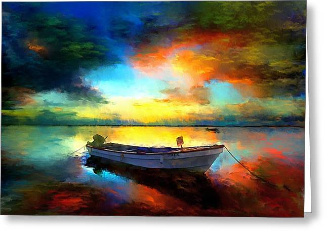 Sailboat Images Greeting Cards - Sunset Boat Landscape Artwork Painting Greeting Card by Andres Ramos
