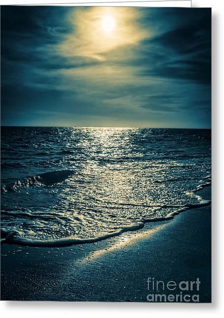 Sunset Bowman Beach Sanibel Florida Greeting Card by Edward Fielding