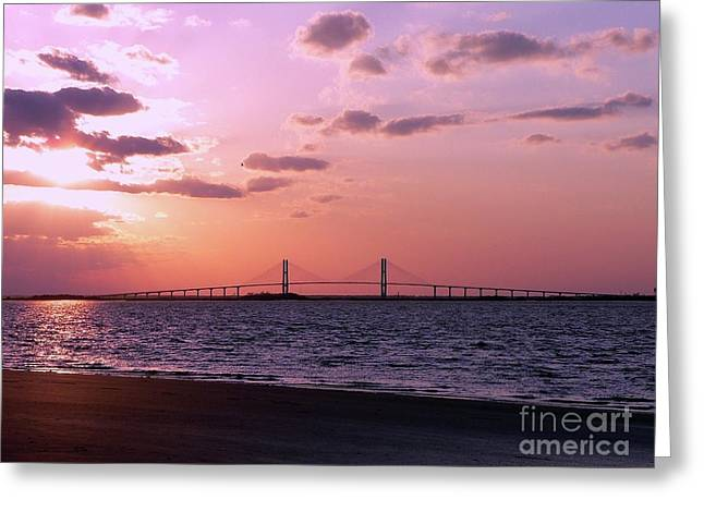 Cable-stayed Bridge Greeting Cards - Sunset Bridge Greeting Card by Al Powell Photography USA