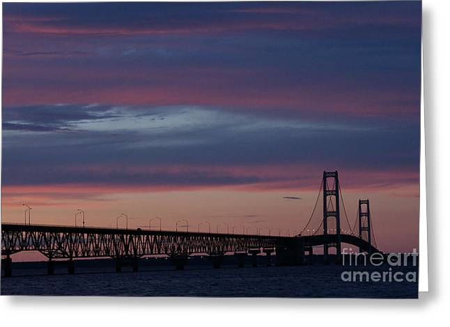 Mackinaw City Greeting Cards - Sunset Bridge Greeting Card by Linda Knorr Shafer