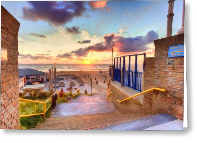 Walkway To The Beach Greeting Cards - Sunset by the Sea Greeting Card by Nadia Sanowar