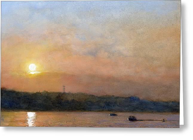 Sunset- Cazenovia Lake Greeting Card by Wayne Daniels