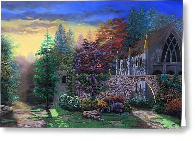 Religious Paintings Greeting Cards - Sunset Chapel Greeting Card by Andre Platonov