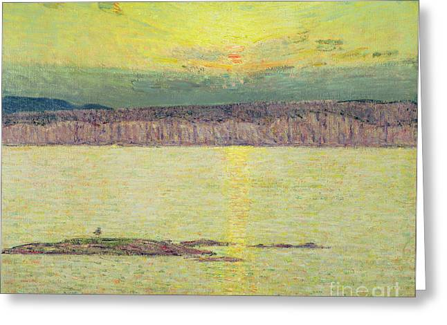 Reflecting Water Greeting Cards - Sunset Greeting Card by Childe Hassam