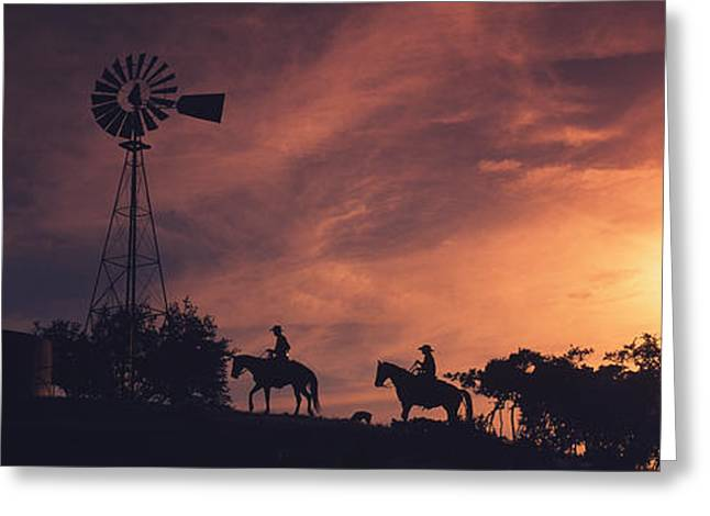 West Tx Greeting Cards - Sunset, Cowboys, Texas, Usa Greeting Card by Panoramic Images