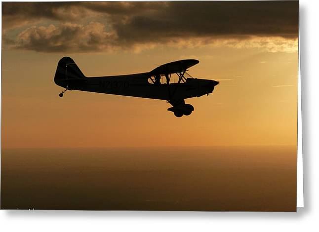 Piper Cub Greeting Cards - Sunset Cubbin Greeting Card by Jamie Abrams