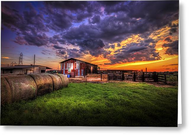 Fence Line Greeting Cards - Sunset Dairy Greeting Card by Marvin Spates