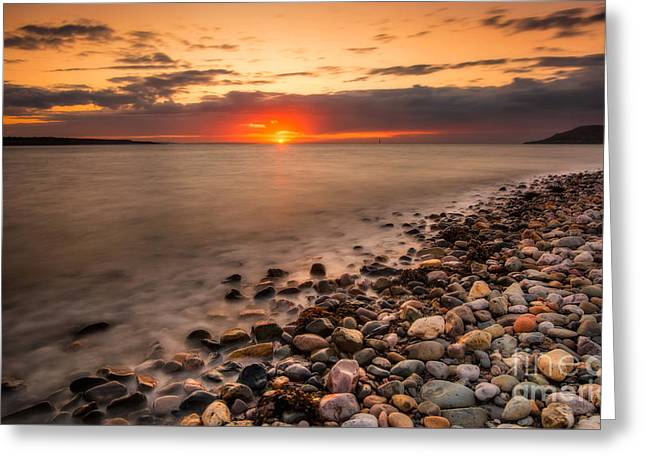 Beach Greeting Cards - Sunset Deganwy Beach Greeting Card by Adrian Evans